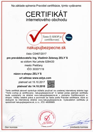 Certifikát Zelys e-shop nakupujbezpecne.sk
